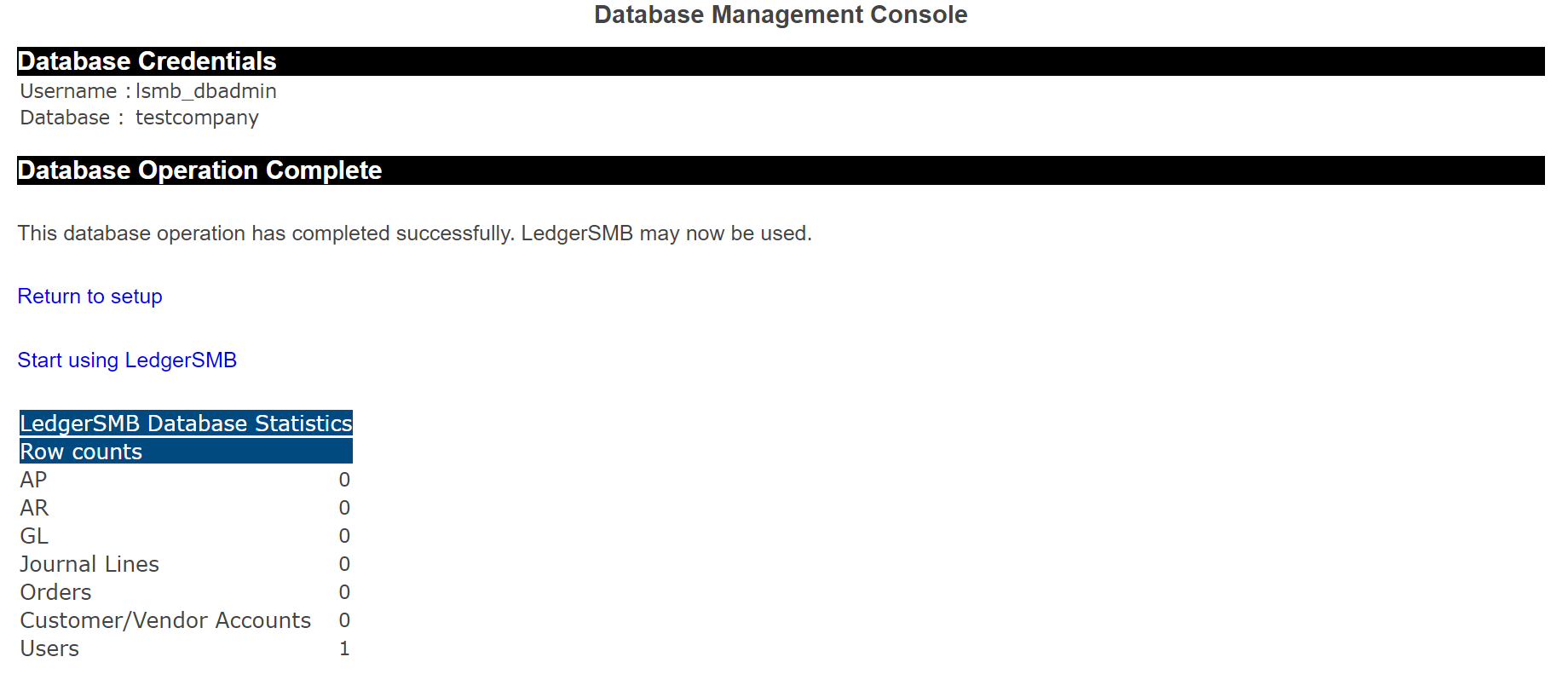 Confirmation of database creation (completed)