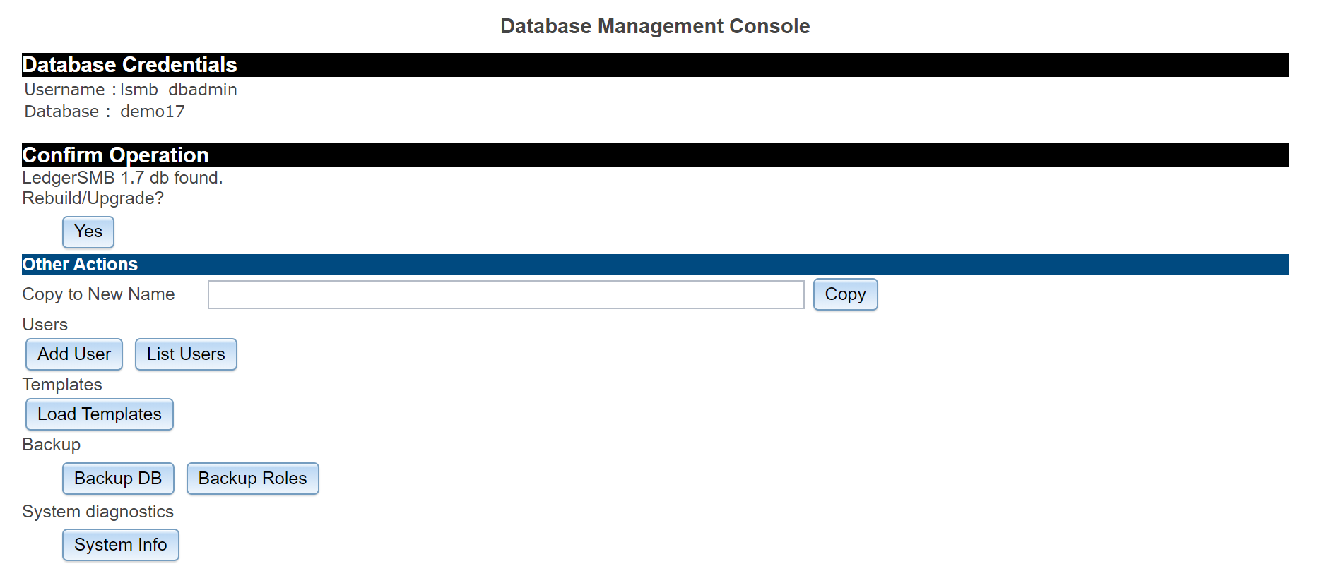Database management console (setup.pl)