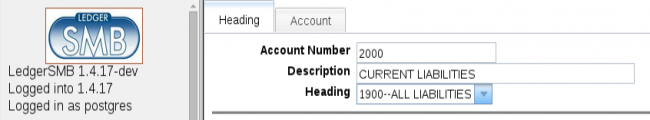 Account heading with a heading